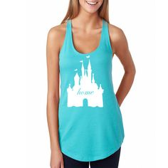 Welcome to CORE BELIEF! USE COUPON CODE: 10OFF100 for $10 off your purchase of $100 or more and coupon code 5OFF50 for $5 off your purchase of $50 or more  Disney Castle Home Racerback Fitted Top with Magic Kingdom Castle Matching Shirts in Different Colors Available for Trip to Disney World or Disneyland  This is a fitted shirt The Next Level Ideal Racerback Tank offers great style at the right price! Made with 3.9oz 60/40 cotton poly, Pre-laundered to reduce shrinkage  Care instruction...