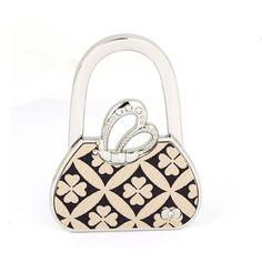 Folding Foldable Clover Pattern Handbag Shaped Pothook Hanger Purse Table Hook