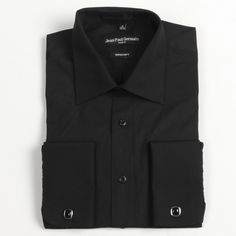 Jean Paul Germain Men's Black French Cuff Dress Shirt | Overstock.com