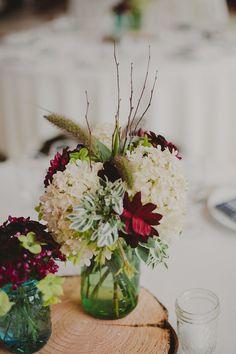 Wedding Centerpiece | Mason Jars | Hydrangea | London NYC Brooklyn Wedding Photographer