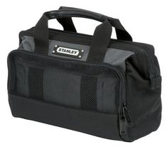 "Stanley 512100M 12-Inch Tool Bag by Stanley. $17.59. ""STANLEY TOOLS"" SOFT SIDED TOOL BAG :  *12"" *Adjustable strap allows for easy access to contents *Ideal for carrying hand tools and other small to medium items *Rubber foam bottom keeps bag sturdy and protects contents from hard falls *Outer mesh pocket stores personal belongings, small tools and accessories"