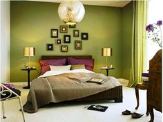Olive bedroom. I love this color, not for a bedroom though. Maybe a hallway or staircase.
