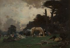 Gustave Achille Guillaumet (1840-1887 French) ::  A wooded encampment with Arabian horsemen - oil on canvas, 20.5'' x 30'' - est: $20,000/30,000