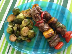 Lean Beef & Veggie Kabobs with Sauteed Brussels Sprouts