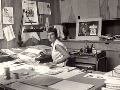 """Mary Blair in the Disney Animation Studio. She contributed to the 1950 animated """"Cinderella,"""" 1951's """"Alice in Wonderland"""" and 1953's """"Peter Pan"""" as well as the design for the Disney boat ride for It's a Small World. She was honored with a Google Doodle in October 2011."""