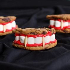 cookies, marshmallows, icing, almond slivers