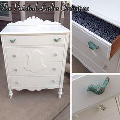 Antique off white dresser with glass knobs  Behr summer white