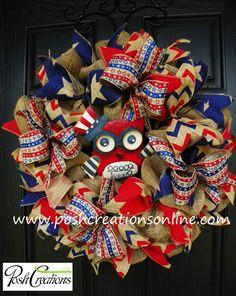 Patriotic Owl Wreath Fourth of July Wreath by PoshcreationsKY, $85.00 Owl decoration, Patriotic Wreath, Patriotic Owl Wreath, Flag wreath, Flag Decoration, 4th of july, 4th of july wreath