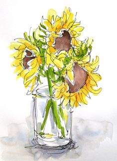 Sketchbook Wandering : Finding my Sunflower Voice Watercolor Sunflower, Pen And Watercolor, Watercolour Painting, Watercolor Flowers, Painting & Drawing, Watercolors, Watercolor Pictures, Art Aquarelle, Arte Floral
