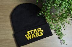 UNISEX Black Winter Knit Beanie STAR WARS yellow writing logo movie Skull Cap #Unbranded #Beanie