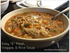 """Trim Healthy Tuesday: Easy """"E"""" Meat, Veggie, & Rice Soup"""