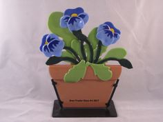 Fused Glass Blue Pansies designed and created by Bren Traxler