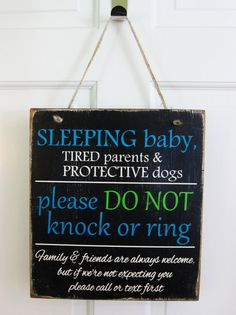 Sleeping Baby Do Not Knock or Ring Distressed Rustic Do Not Disturb Hanging Wood Sign for Front Door