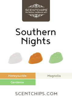The laid back warmth of honeysuckles and gardenias is combined with the lush fragrance of Honey Suckles, Southern Nights, Candle Wax, Candles, Magnolia Trees, Gardenias, Magnolias, Sweet Tea, Wax Melts