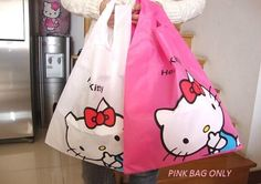 HELLO KITTY PINK REUSABLE SHOPPING GROCERY BAG TOTE PINK COLOR ONLY NYLON SANRIO #SANRIO #REUSABLERECYCLETOTE