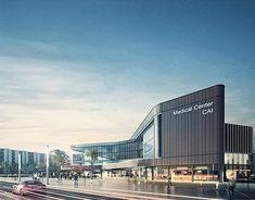 Ideas Medical Center Facade Design For 2019 Mall Design, Clinic Design, Healthcare Architecture, Facade Architecture, Medical Design, Healthcare Design, Mall Facade, Hospital Design, Facade Design
