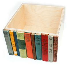 Upcycled storage bin - just not sure how you would saw the books so neatly at the end...