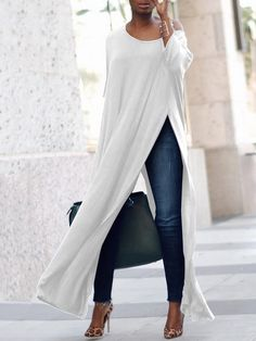 Stylish Solid High Slit Casual Blouse The clothing culture is fairly old. Mode Chic, Mode Style, Look Fashion, Fashion Outfits, 90s Fashion, Winter Fashion, Vintage Fashion, Fashion Tips, Mode Kimono