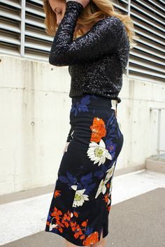 sequins, floral pencil skirt, zara