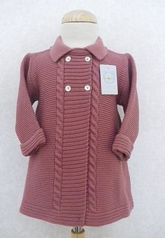 Crochet And Knitting Pattern Free 2019 - - Diy Crafts - maallure Crochet Baby Jacket, Knit Baby Dress, Knitted Baby Clothes, Baby Knitting Patterns, Baby Sweater Knitting Pattern, Baby Girl Vest, Beige Coat, Knitted Coat, Winter Mode