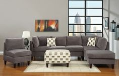 Poundex 2 PCs. Ash Grey Microfiber Sectional Sofa with Chaise F7493