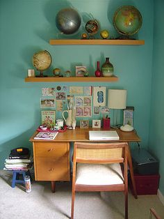 love the desk, colour, globes, everything!