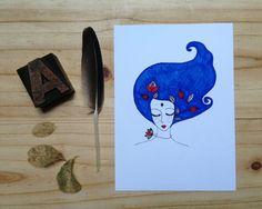 Blue hair. Illustration. Drawing. on Etsy, $10.00