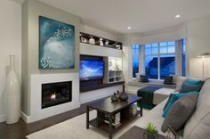 diseño de salón moderno con chimenea de bioetanol