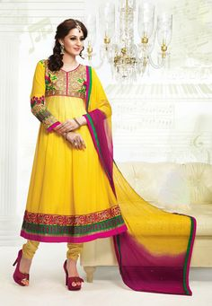 Yellow-Pink Color Pure Georgette-Santoon Designer Anarkali Suit
