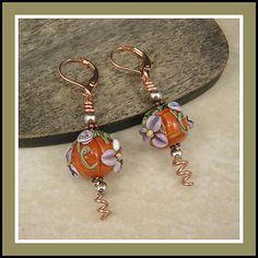 Pumpkin Patch Art Glass Lampwork Earrings -- by Leayn Tabili at 2013 Fall Fest