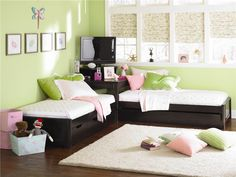 Pretty girls room with twin beds