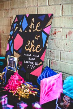Geometric Gender Reveal Baby Shower on Kara's Party Ideas | KarasPartyIdeas.com (37)