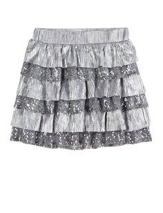 Metallic Tiered Skirt | Skirts & Skorts | Clothes | Shop Justice Fashion Over 50, Boy Fashion, Fashion Dolls, Womens Fashion, Fashion Shoes, Moving Clothes, Justice Clothing, Kids Clothing, Clothing Stores