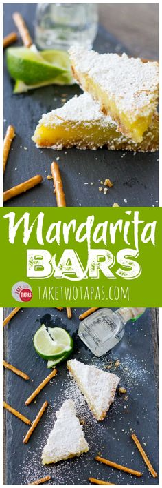 My favorite cocktail is now a dessert bar. Margarita Bars have a creamy and tart lime filling complete with a splash of tequila that sits atop a shortbread salty pretzel crust. A crispy top dusted with powdered sugar finishes off of this amazing dessert. Margarita Bars Recipe | Take Two Tapas