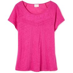 East Lace detail t-shirt ($71) ❤ liked on Polyvore featuring tops, t-shirts, magenta, sale, lacy tops, pink t shirt, lace tee, pink tee and lace detail top