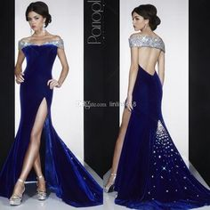 Wholesale Prom Dresses - Buy New Navy Blue Velvet Prom Dress 2014 Sexy Sweetheart Neckline Backless MAC DUGGA Evening Gowns Off-shoulder Cry...
