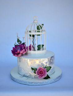 wedding cake with edible silver leaf and bird cage - Cake by majalaska