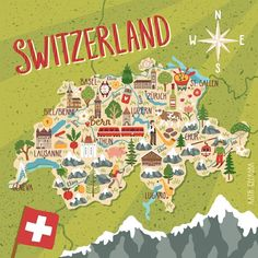 Vector Stylized Map Switzerland Travel Illustration Stock Vector (Royalty Free) 719307520 : Vector stylized map of Switzerland. Travel illustration with swiss landmarks, nature, people, food and symbols. Lugano, Travel Maps, New Travel, Travel Europe, Map Of Switzerland, Switzerland Wallpaper, Switzerland Hotels, Switzerland Vacation, Map Pictures