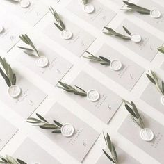 We love the olive branch details on these escort cards! And don& even get us started on those white wax seals!Oh happy wedding day, J&E! Their escort card display is a California dream come true. Perfect forescort cards in a clean and simple design w Wedding Places, Wedding Place Cards, Wedding Escort Card Ideas, Diy Place Cards, Wedding Ideas, Place Card Table, Card Holder Wedding, Wedding Planning, Wedding Details Card