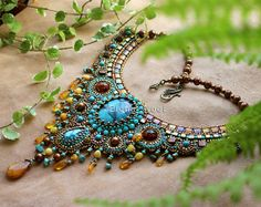 Adriatica Necklace with natural turquoise and bronze. by ElenNoel, $374.00