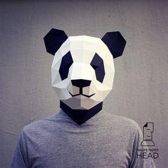 Papercraft panda mask printable DIY template by WastePaperHead