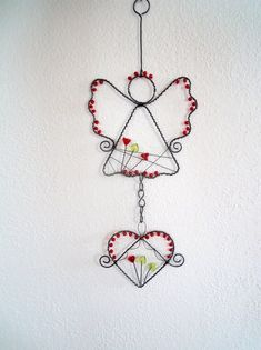 Angel with heart - hanger / Seller& goods Nanele- Andílek se srdíčkem – závěs / Zboží prodejce Nanele Little Angel with Hanger / Seller Nanele Wire Ornaments, Angel Ornaments, Christmas Crafts, Christmas Decorations, Christmas Ornaments, Deco Table Noel, Angel Crafts, Wire Weaving, Wire Crafts