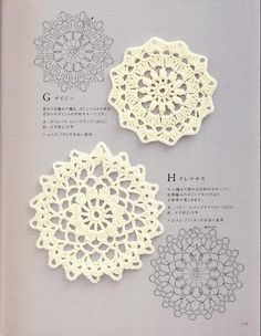 Japanese book and handicrafts - Hand Knitting Note - Crochet Motif and EdgingISSUU - Crochet motif and edging 1 por Crowe BerryPiccolini - Crochet Motif e bordaturaCrochet Patterns and A Great Love of Doilies. Crochet Diy, Crochet Doily Patterns, Crochet Diagram, Crochet Chart, Crochet Squares, Crochet Home, Crochet Doilies, Crochet Flowers, Japanese Crochet