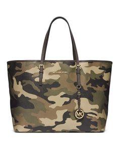 want one! MICHAEL Michael Kors | Medium Jet Set Camo Travel Tote #michaelmichaelkors #camo #tote #bag
