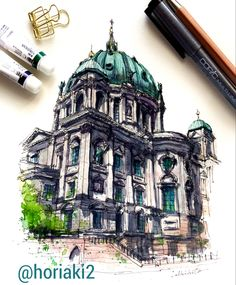 ドイツ・ベルリン大聖堂 — Berliner Dom , Germany 🇩🇪 💐T.Sato, Rest in peace🙏💐 Architecture Concept Drawings, Watercolor Architecture, Architecture Sketchbook, Watercolor Landscape, Art And Architecture, Sketchbook Drawings, Cool Drawings, Art Sketches, Building Drawing