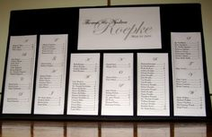 Alphabetical Seating List for Reception