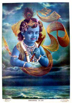 Krishna in Om -  Narotam Narayan Sharma | Hindu religious lithographic print. Published by: S.S. Brijbasi & Sons, Mathura.