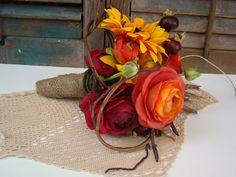 rustic wedding bouquets w burlap/sunflowers   ... Orange, Red, Sunflower, Autumn Color Wedding, Burlap, Rustic Wedding