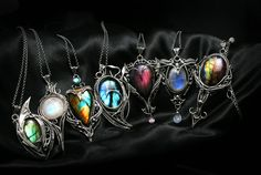 Fully handmade work: necklaces technique: wire-wrapping materials: sterling silver, fine silver, labradorite, moonstone.