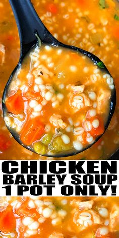 CHICKEN BARLEY SOUP RECIPE- The best, easy, hearty chicken and barley soup, homemade with simple ingredients in one pot over stovetop in one hour. Loaded with veggies, shredded rotisserie chicken and Italian herbs and spices. From OnePotRecipes.com #dinner #soup #onepotrecipes #onepotmeal #30minutemeal #30minuterecipes